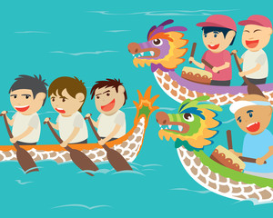 Vector illustration of happy kids in a dragon boat racing