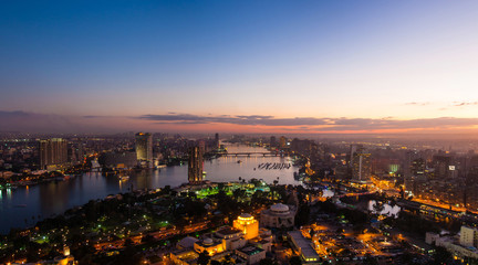 Panorama of night Cairo from the top of the Cairo TV tower at sunset Papier Peint