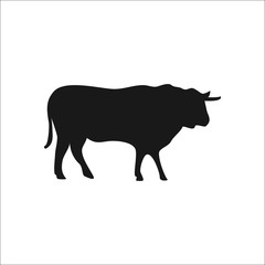 Cow silhouette simple icon on background