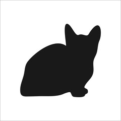 Cat playing kitten silhouette simple icon on white  background