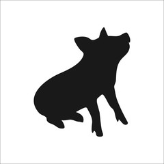 Pig silhouette simple icon on background