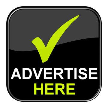 Schwarzer Button zeigt Advertise here