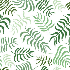 Vector seamless pattern with green leaves.