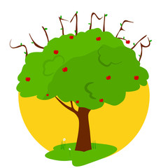 "Summer green tree. Branches that form the word ""Summer"". vector illustration"