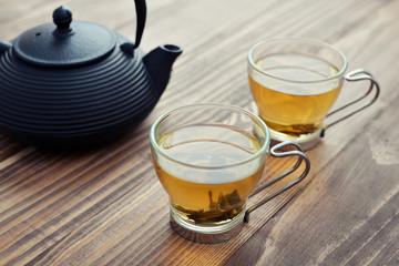 Green tea in a glass cups
