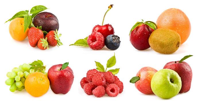mixed tasty fruit composition set isolated on white