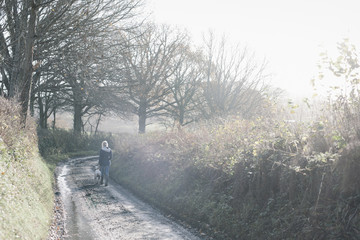 A woman and a dog walking down a country lane.