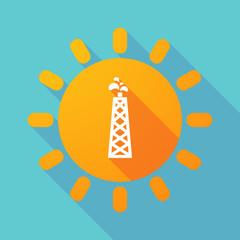 Long shadow sun with an oil tower