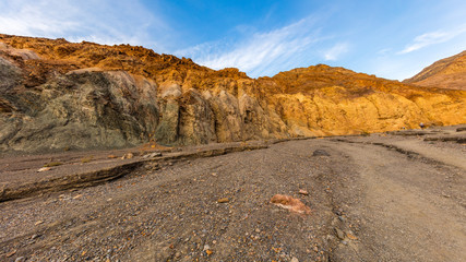 Blue and yellow walls in Mosaic Canyon. Landscape of Mosaic Canyon, Death Valley National Park, California