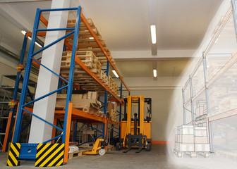 drawing combined with shelves and racks with pallets in distribu