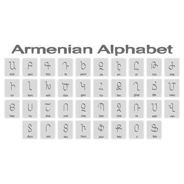 Set of monochrome icons with armenian alphabet for your design