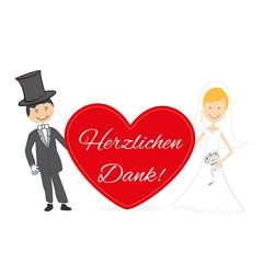 Hochzeitspaar karte Herz Danksagung