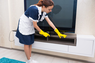 Housekeeper or maid cleaning a cabinet