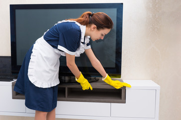 Housekeeper dusting a television and cabinet