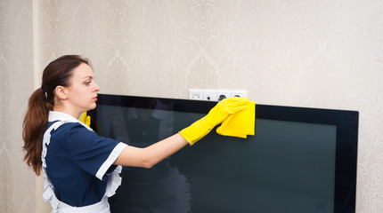 Maid or housekeeper cleaning a television set