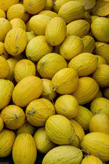 Yellow melons at a street market