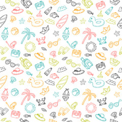 Beach theme background. Cute hand drawn summer theme seamless pa