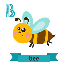 Bee. B letter. Cute children animal alphabet in vector. Funny ca