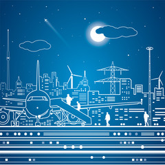 Airport, airplane, transport terminal, passengers landing, night city on background, white lines, vector design art