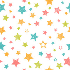 Cute seamless pattern with colorful stars. Stylish print with ha
