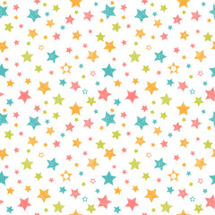 Cute seamless pattern with stars. Stylish print with hand drawn
