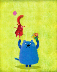 Big Blue Cat Holding Flowers And Kitten With Balloon