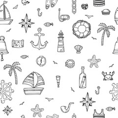 Hand drawn seamless nautical pattern. Nautical icons. Marine sym