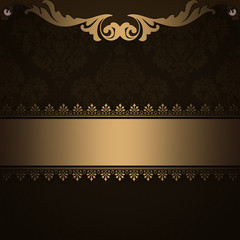 Decorative background with gold vintage border.