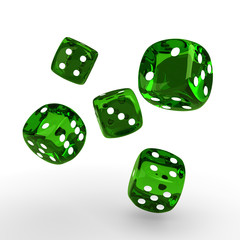 game green dices rolling on white table with place for text