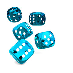 game blue dices rolling on white table