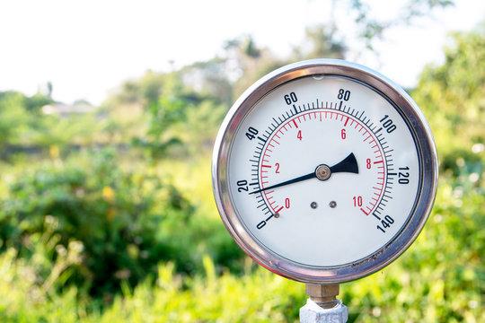 Closeup of a water pressure meter,Water gauge