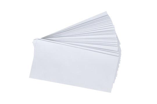 Pile white envelope letter office isolate on white background