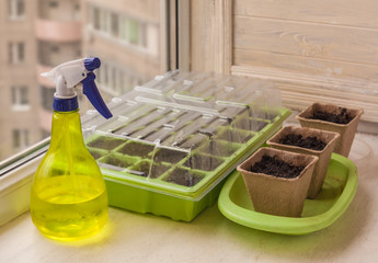 Greenhouse for seedlings and peat pots