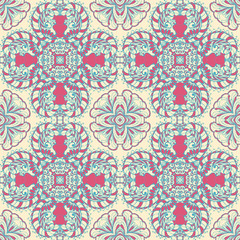 Tuinposter Marokkaanse Tegels Seamless abstract pattern, hand drawn texture for Wedding, Bridal, Valentine's day or Birthday Invitations. Floral geometric background. Fabric or paper print.