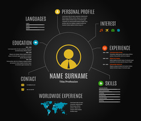 Vector dark resume web infographic template.