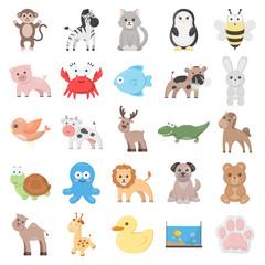 Animal 25 cartoon icons set for web design