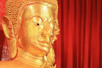 Beautiful face of Buddha statue. - (Selective focus)