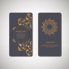 Set of two ornamental gold cards, flyers with flower oriental mandala on blue background. Ethnic vintage pattern. Indian, asian, arabic, islamic, ottoman motif. Vector illustration.