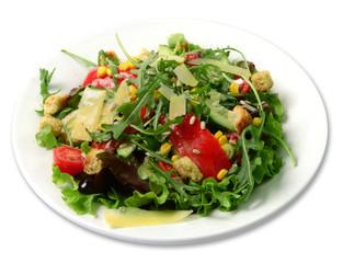 Salat mit Scheibenkäse