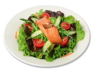 Lachssalat / Salat freigestellt auf weißem Teller