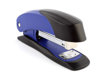 Blue stapler isolated on white background