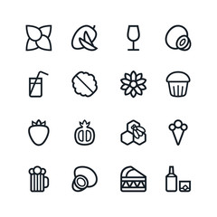 Fruit and desert icons in thin line style
