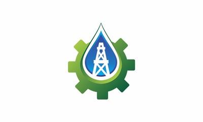 Water, Fire, oil, gas logo