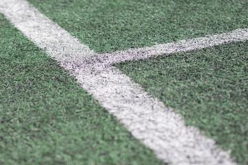 Lines on green grass sport field