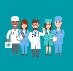 group of doctors nurses in uniform medical teamwork concept illustration