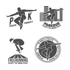 Set of parkour and free running badges