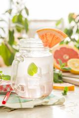Lemonade in mason jar outside