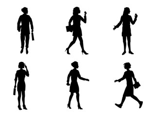 Six businesswomen silhouettes