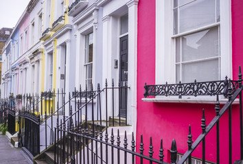 London, England - Traditional colourful houses at Notting Hill district near Portobello road