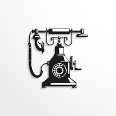 Old phone. Vector illustration.